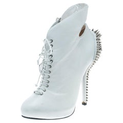 White Leather Spike Embellished Heel Cut Out Ankle Boots Size 37.5