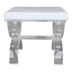 White Leather Stool with Lucite Legs