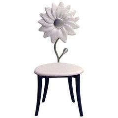 White Leather Sunflower Accent Chair