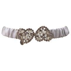 White leather swarovski hearts belt