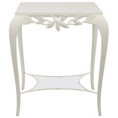 White Leaves Side Table