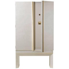 Agresti White Lei Lui Armoire in Birdseye Maple