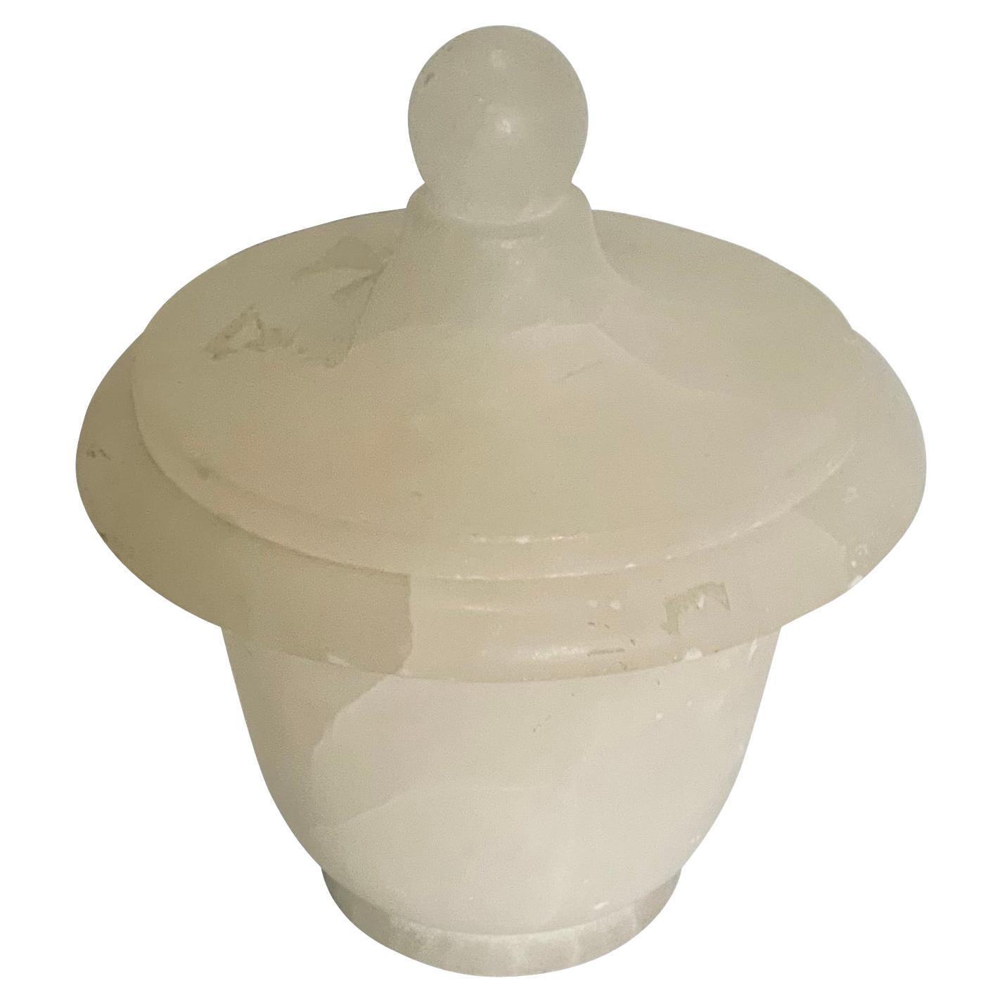 White Lidded Alabaster Jar, Italy, Mid Century