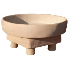 White Limon Tabla Side Table Made of Clay, Handcrafted by the Potter Houda
