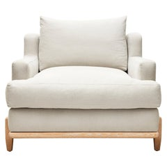White Linen and Oak George Chair by Brian Paquette for Lawson-Fenning
