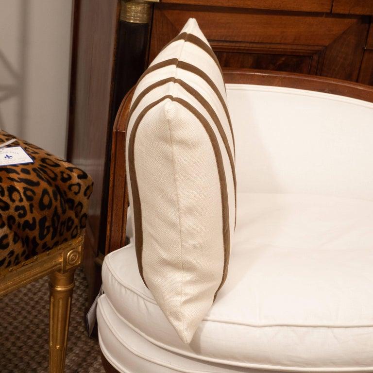 Contemporary White Linen Pillow with Brown Velvet Stripe For Sale