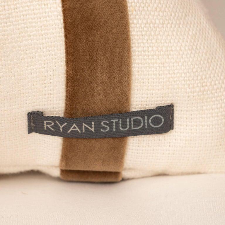 White Linen Pillow with Brown Velvet Stripe For Sale 1