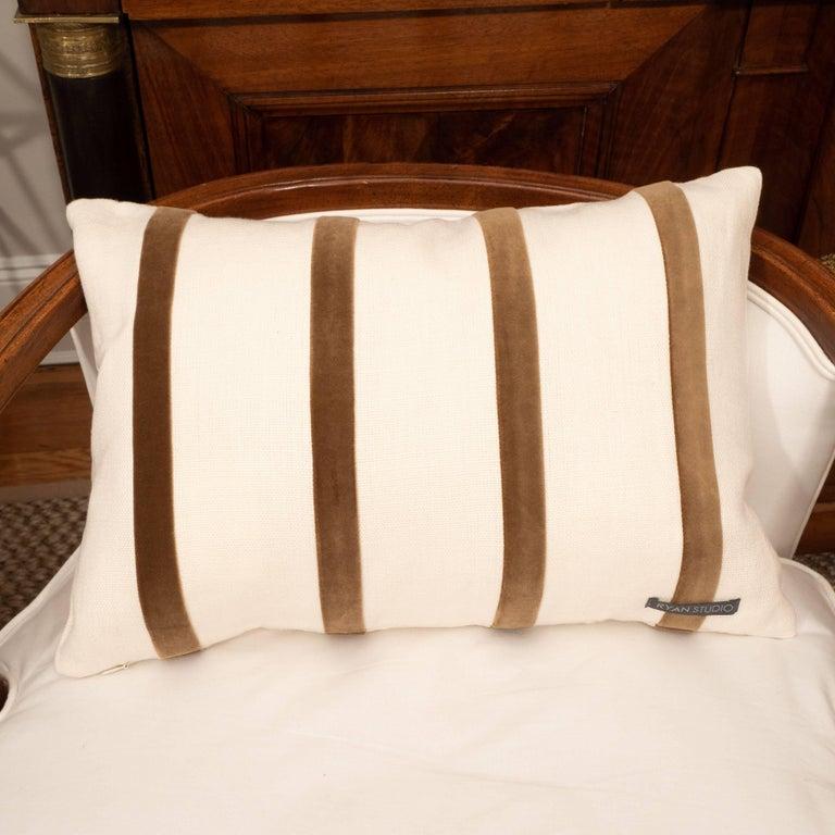 White Linen Pillow with Brown Velvet Stripe For Sale 2