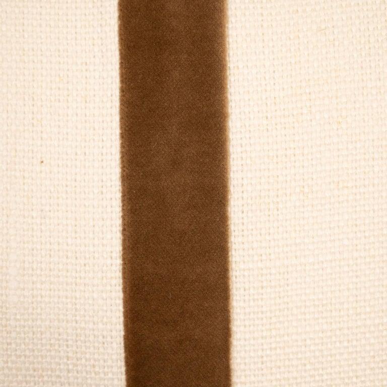 White Linen Pillow with Brown Velvet Stripe For Sale 3