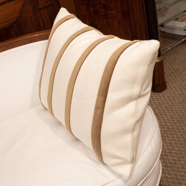 White Linen Pillow with Brown Velvet Stripe For Sale 4