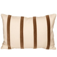 White Linen Pillow with Brown Velvet Stripe