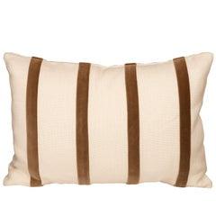 White Linen Pillow with Brown Velvet Stripe