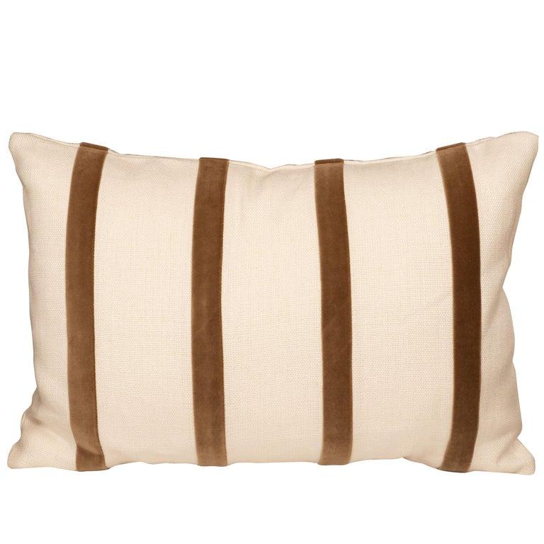 White Linen Pillow with Brown Velvet Stripe For Sale
