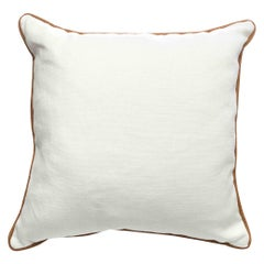 White Linen Pillow with Tan Leather Edging, Customized