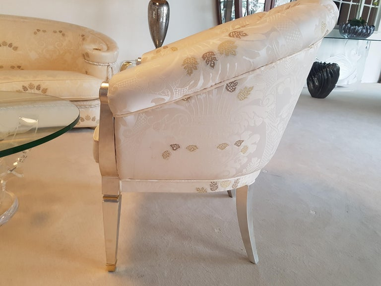 White Living Room Set with Glass Table For Sale 6