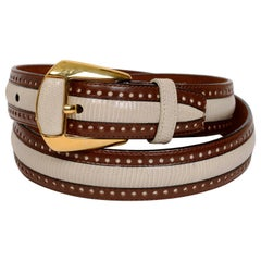 White Lizard and Brown Leather Belt by Giorgio's Worth Ave Palm Beach, Brand New