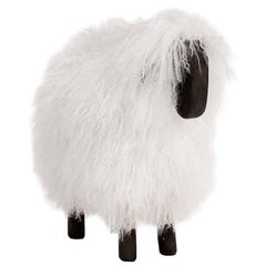 White Long Haired Fur + Black Painted Wood, Small Sheep