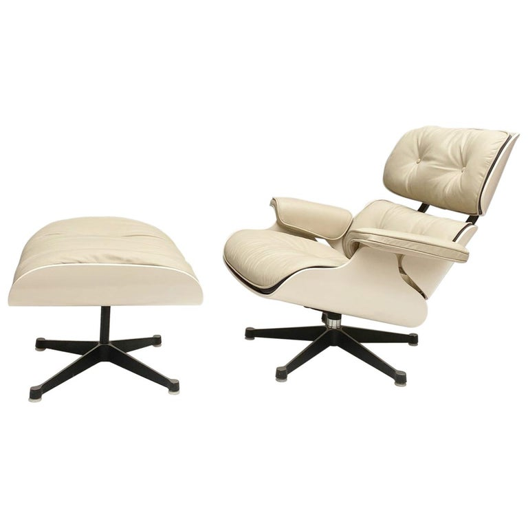 White Lounge Chair and Ottoman in Style of Charles and Ray Eames For Sale