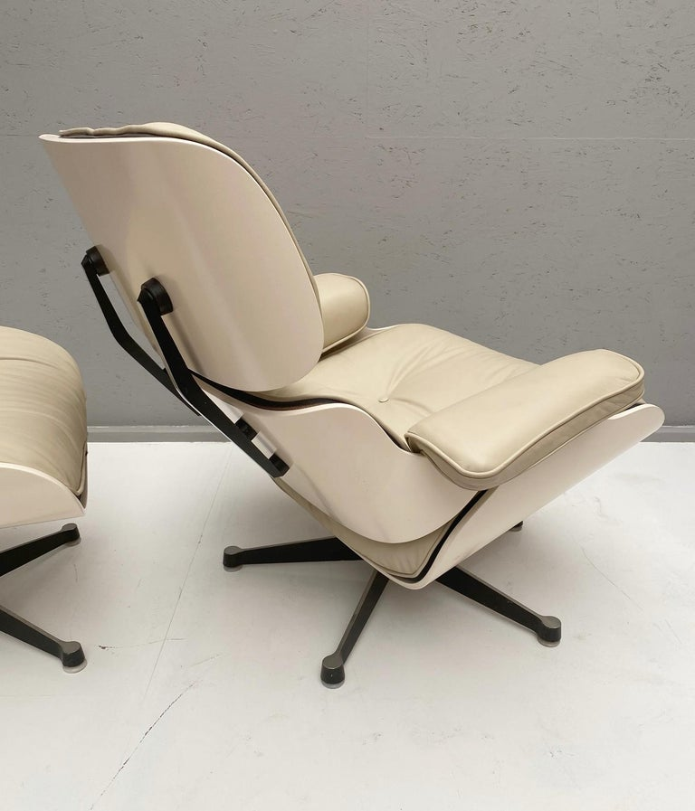 Wood White Lounge Chair and Ottoman in Style of Charles and Ray Eames For Sale