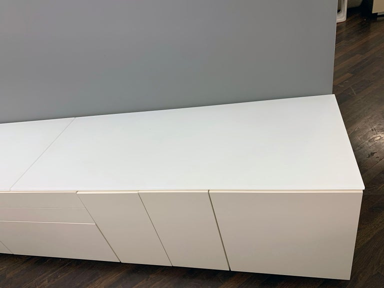 White M2L Brand Media Console with Satin Glass Top For Sale 4