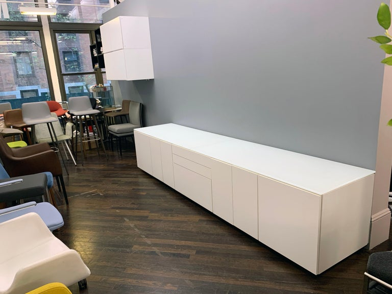 White M2L Brand Media Console with Satin Glass Top For Sale 5
