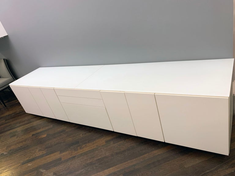 White M2L Brand Media Console with Satin Glass Top For Sale 6