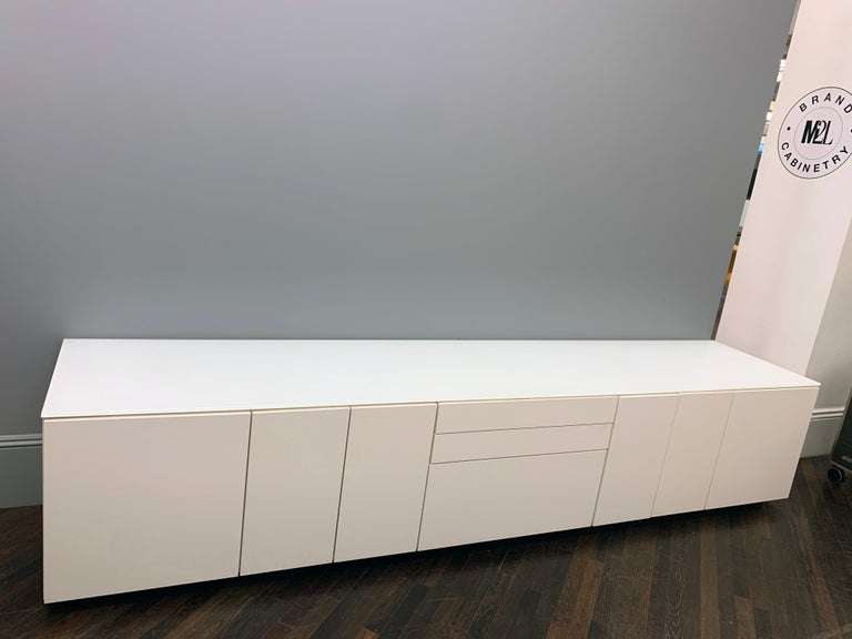 White M2L Brand Media Console with Satin Glass Top For Sale 3