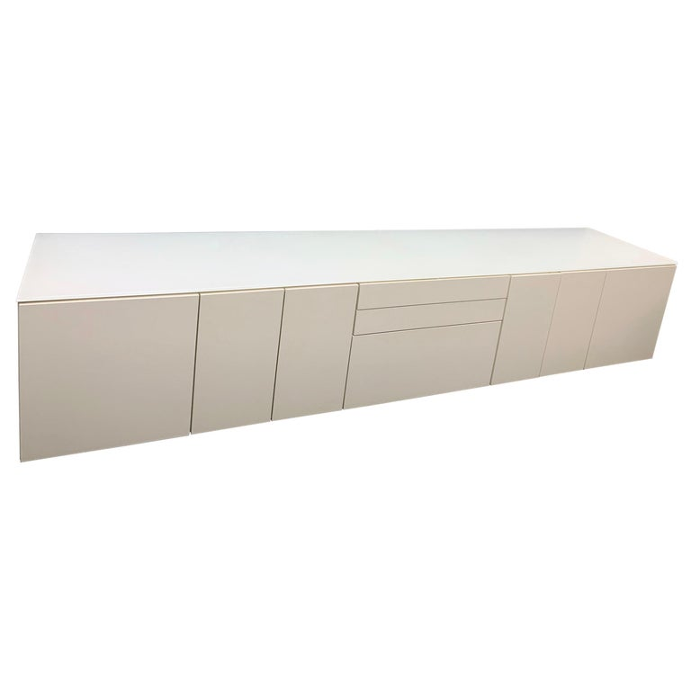 White M2L Brand Media Console with Satin Glass Top For Sale
