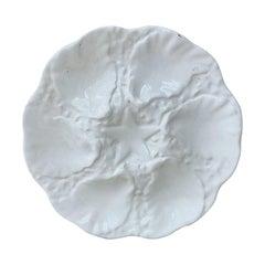 White Majolica Oyster Plate, circa 1950