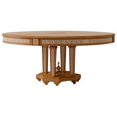 White Maple and Cherry Round Dining Table