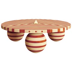 White Maple Red Orange Padauk Wood Coffee Table & Mirror Polished Brass Pyramid