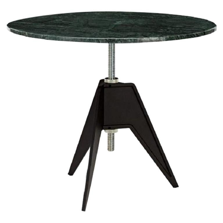 Green Marble Adjustable Height Screw Cafe Table For Sale