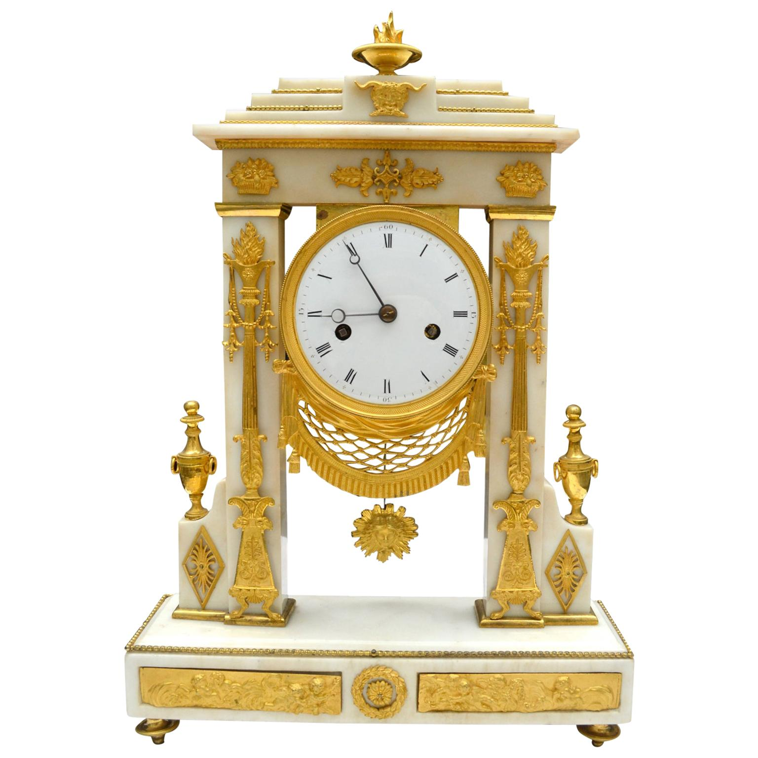 White Marble and Gilt Bronze French Portico Clock