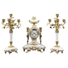 White Marble and Gilt Metal Mounted Clock Set