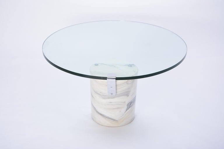 White Marble and Glass Coffee Table Model K1000 by Team Form for Ronald Schmitt For Sale 6