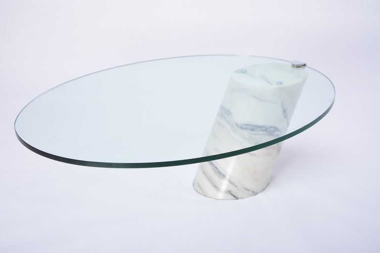 White Marble and Glass Coffee Table Model K1000 by Team Form for Ronald Schmitt For Sale 8