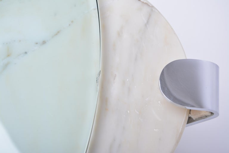 White Marble and Glass Coffee Table Model K1000 by Team Form for Ronald Schmitt For Sale 9