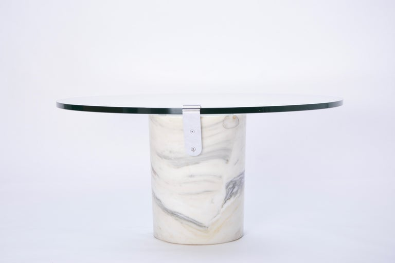 White Marble and Glass Coffee Table Model K1000 by Team Form for Ronald Schmitt For Sale 13