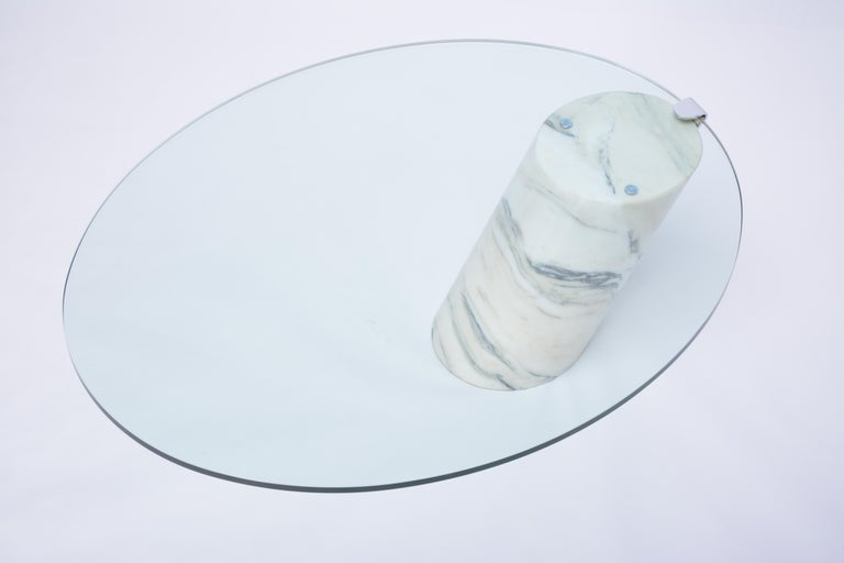 Modern White Marble and Glass Coffee Table Model K1000 by Team Form for Ronald Schmitt For Sale