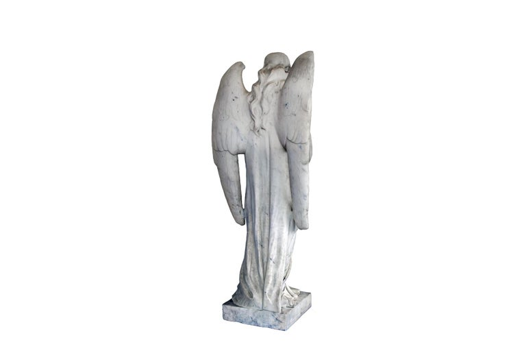 French White Marble Angel Statue, 19th Century, France For Sale