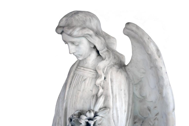 White Marble Angel Statue, 19th Century, France For Sale 1