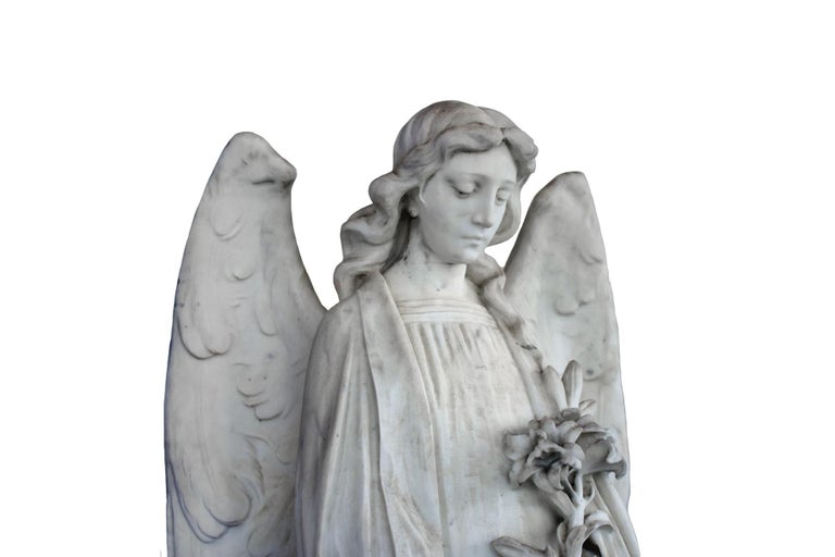 White Marble Angel Statue, 19th Century, France For Sale 2