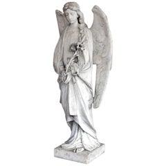 Weiße Marmor Engelsstatue, 19. Jahrhundert, Frankreich