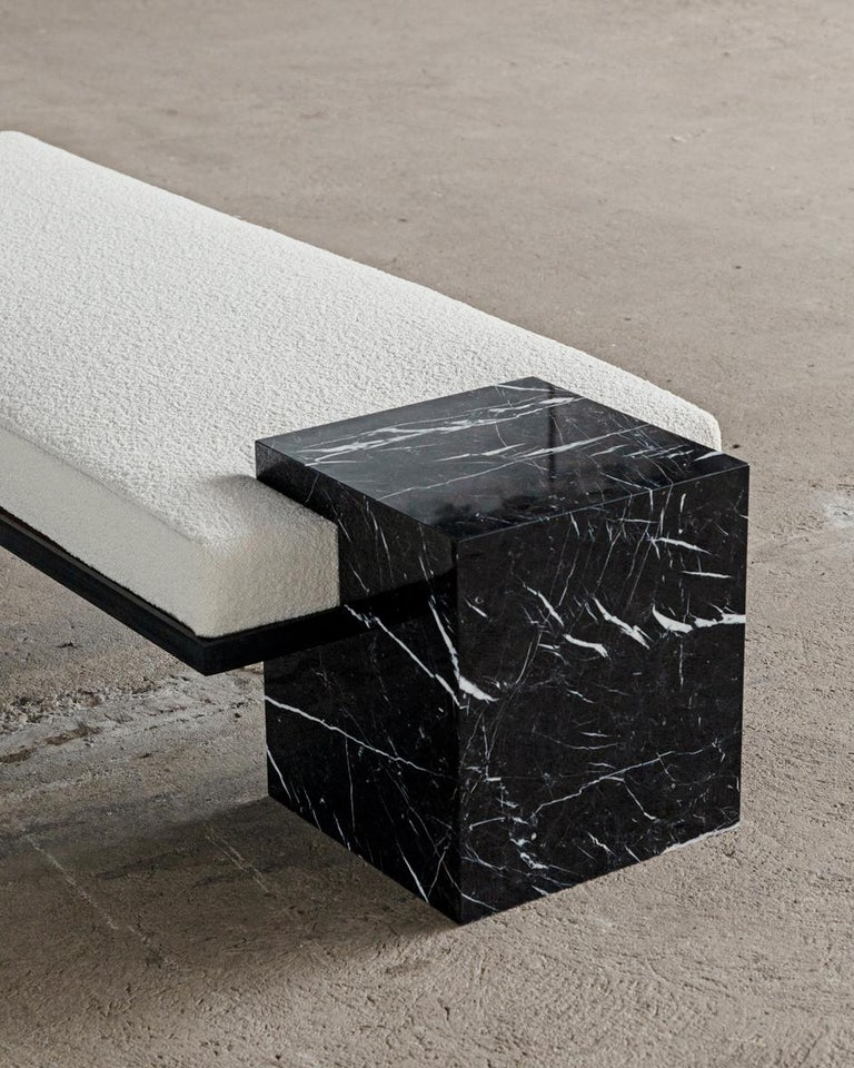 American White Marble, Black Steel, and Boucle Coexist Bench by Slash Objects For Sale
