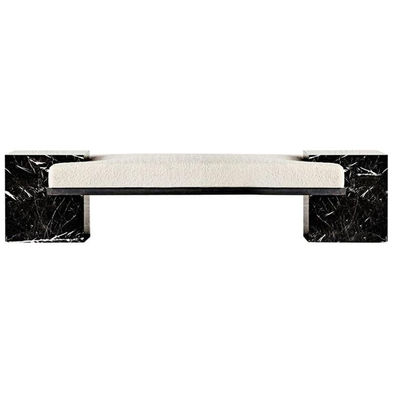 White Marble, Black Steel, and Boucle Coexist Bench by Slash Objects For Sale