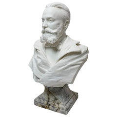 19th cent. White Marble Bust of a Gentleman by R. Schmid Dated 1891