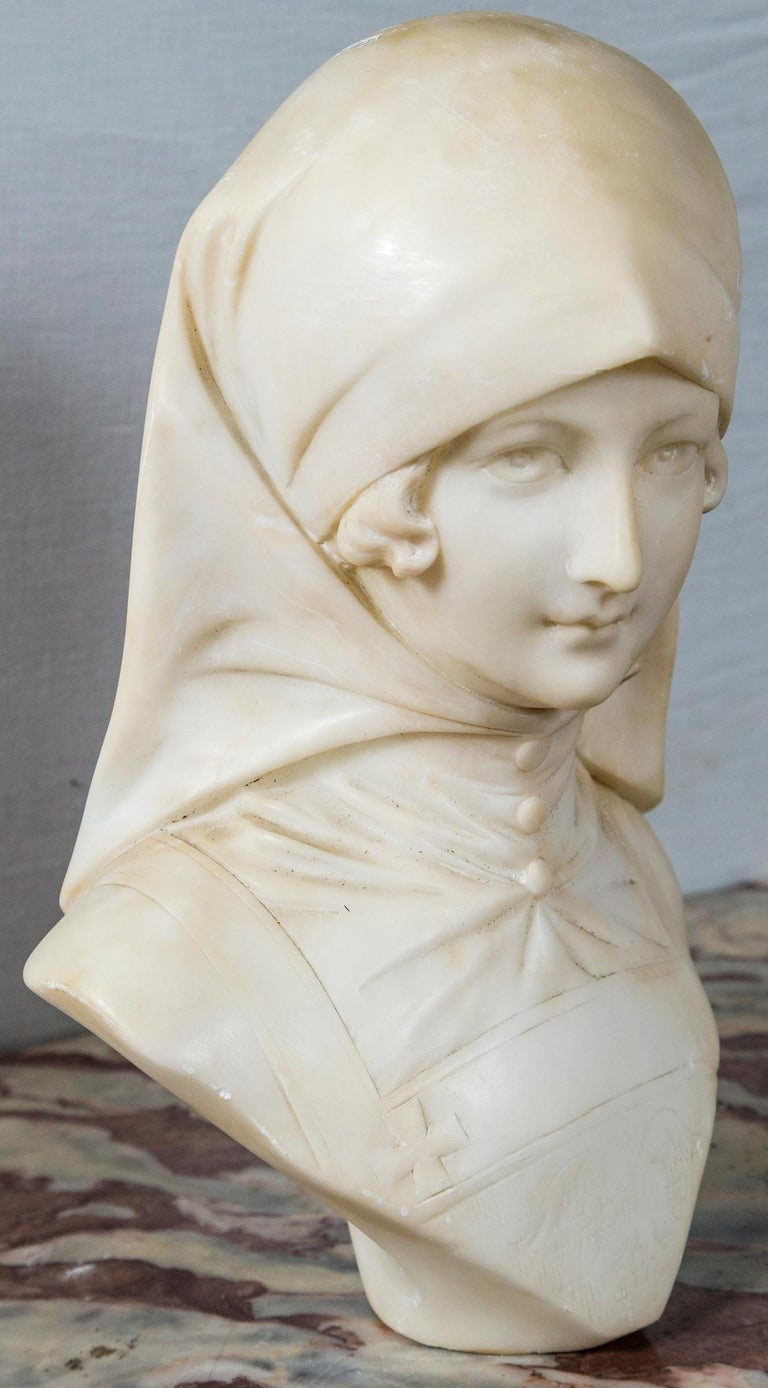 Italian White Marble Bust of a Girl For Sale