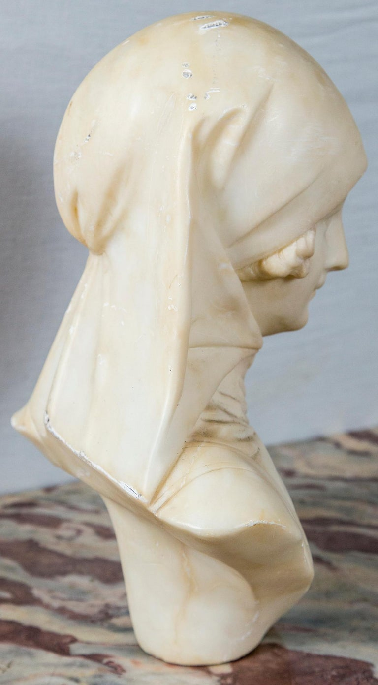 Hand-Carved White Marble Bust of a Girl For Sale