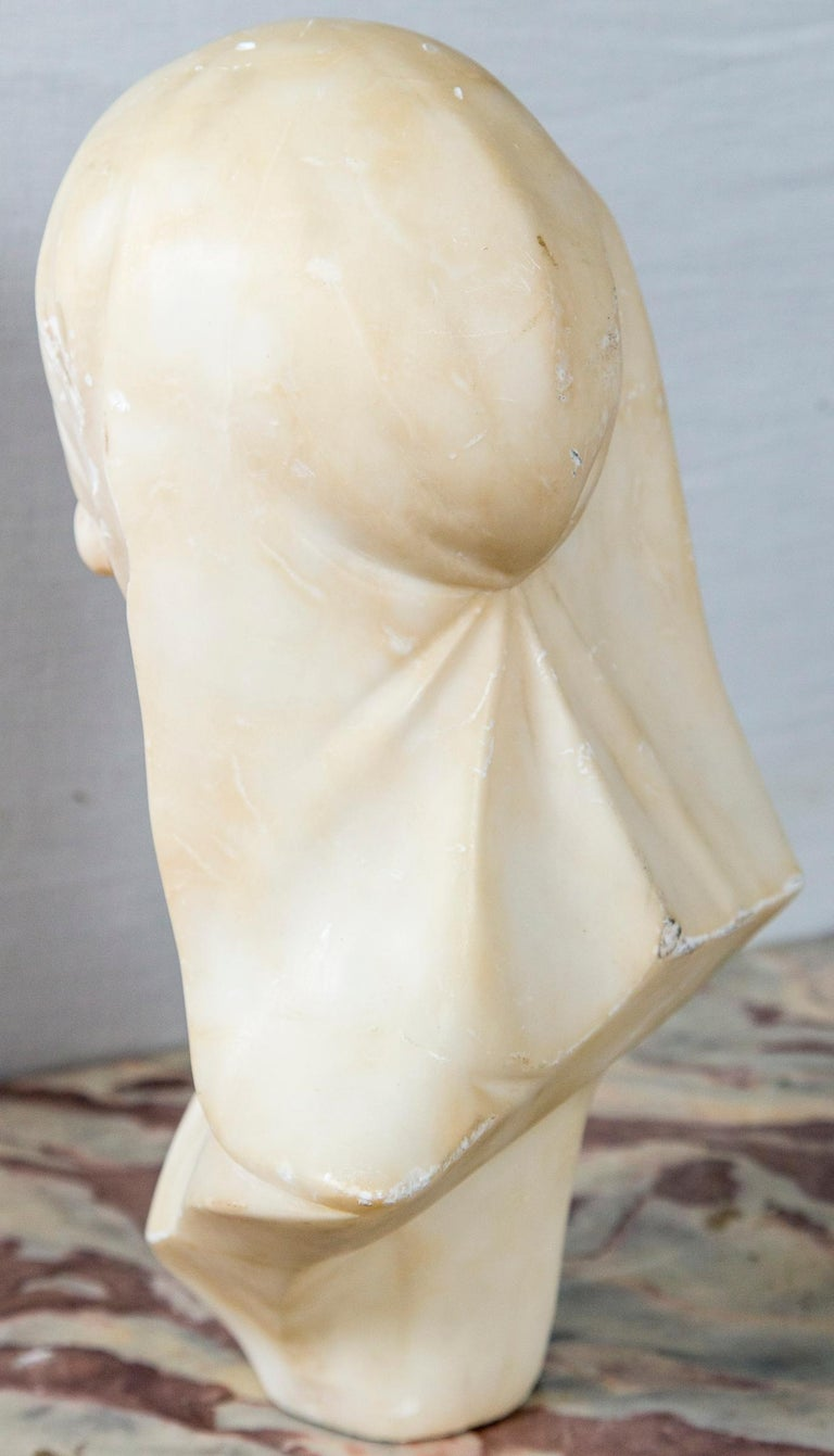 Early 20th Century White Marble Bust of a Girl For Sale