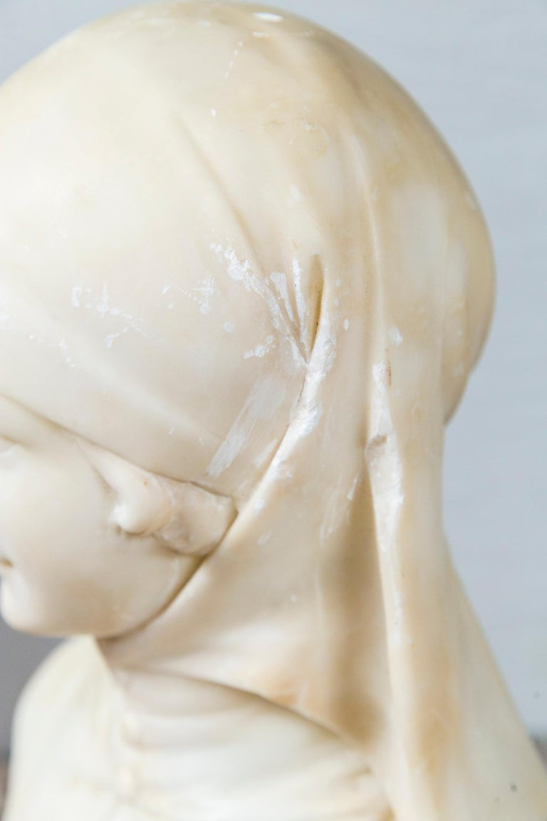 White Marble Bust of a Girl For Sale 3